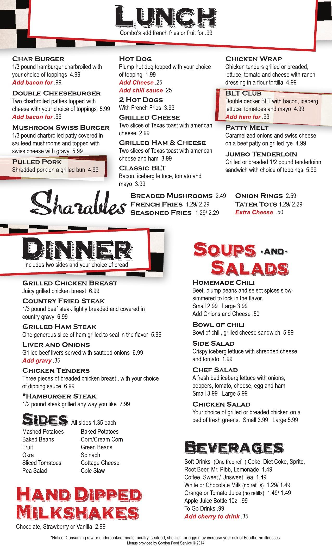 Retro Diner Menu Page 1 2